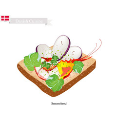 smorrebrod with shrimp the national dish of denma vector image
