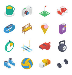 Sports and activities isometric icons pack vector
