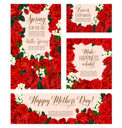 spring flowers of mother day greeting cards vector image