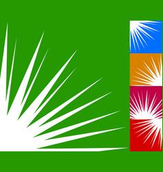 Starburst sunburst background element in 5 color vector