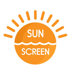 Sun sea screen uv logo flat style vector