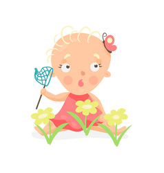 Sweet cartoon baby girl sitting on the meadow with vector