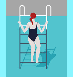Swimming pool woman in swimsuit on ladder summer vector