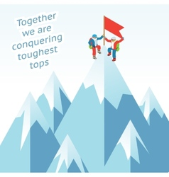 Synergy concept Business mountain climbing in vector image