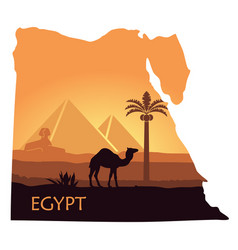 The landscape of egypt with a camel the pyramids vector