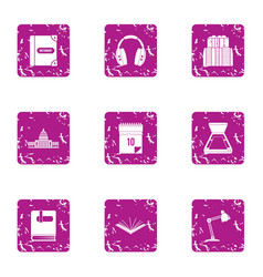 Theoretical icons set grunge style vector