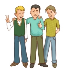Three happy cartoon boys who support each other vector image