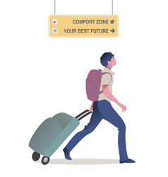 Traveler young man walking with backpack pulling vector