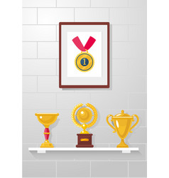 trophy awards and medal collection on a white vector image