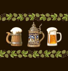 vintage colorful set beer mugs framed by vector image