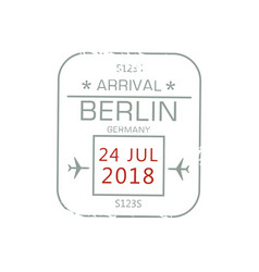 visa stamp isolated berlin international airport vector image