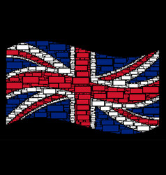 waving uk flag collage of building brick items vector image