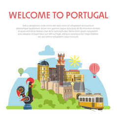 Welcome to portugal informative poster with vector