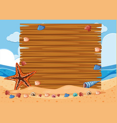 wooden board on the beach vector image