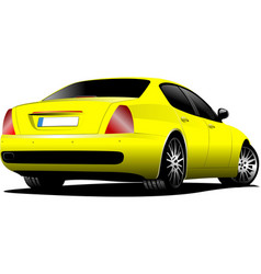 Yellow car sedan on the road vector