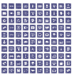 100 website icons set grunge sapphire vector image vector image