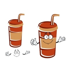 Cartoon takeaway cup with drinking straw character vector image