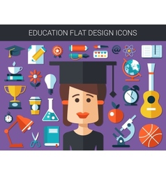Set of modern education flat design icons vector image vector image