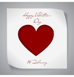Valentines Day paper background with red heart vector image