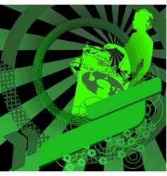 green girl dj and banner vector image vector image