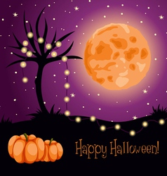 halloween moon tree lights vector image