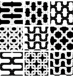 Set of grate seamless patterns with geometric vector image vector image
