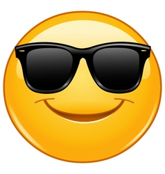 smiling emoticon with sunglasses vector image vector image
