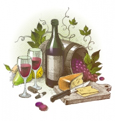 vintage still life with wine vector image vector image