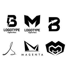 6 set letter logotype vector image