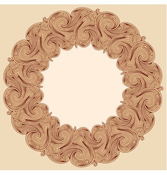 Brown engraving round frame vector image vector image