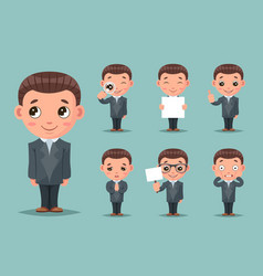 cute businessman mascot happy support approval vector image