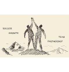 Drawn success teamwork partnership concept vector image vector image