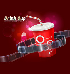 drink cup movie cinema object vector image
