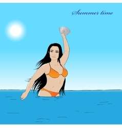 Girl in water vector image