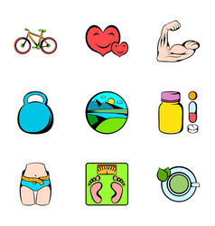 healthy lifestyle icons set cartoon style vector image vector image