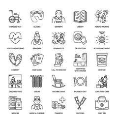 line icon of senior and elderly care vector image vector image