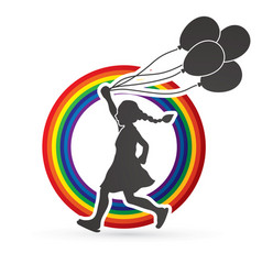 little girl running with balloons graphic vector image vector image