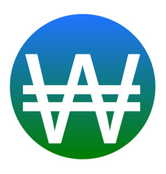 won sign white icon in bluish circle on vector image