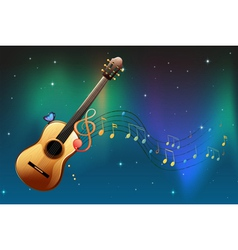 A brown guitar with a butterfly and musical notes vector image vector image