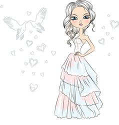Beautiful fashionable girl bride vector image vector image