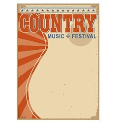 Country music background with text old poster vector image vector image