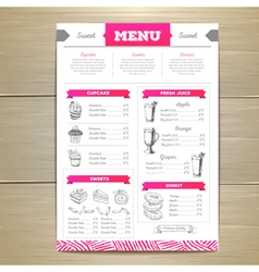 dessert menu design vector image