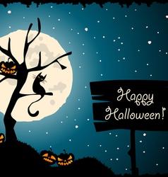 halloween tree cat moon vector image
