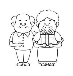 happy grandparents holding gift box grandpa and vector image