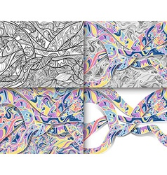 Set of abstract line art for coloring vector image vector image