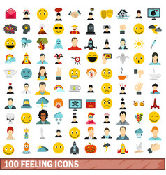 100 feeling icons set flat style vector