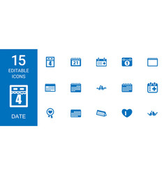 15 date icons vector image