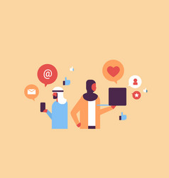 Arabic couple man woman social media icons concept vector