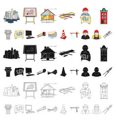 architecture and construction cartoon icons in set vector image