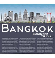 Bangkok Skyline with Gray Landmarks vector